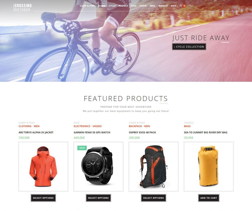 Webdesign site eCommerce Crossing Outdoors