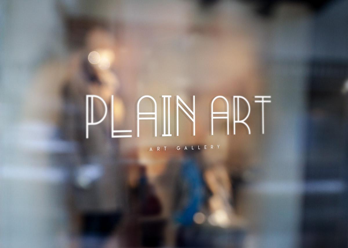Logo Imprimé sur vitre galerie d'art Plain Art Gallery